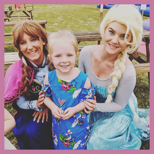 The Snow Princess and Snow Queen with party child