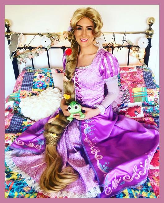 Rapunzel sat on a bed