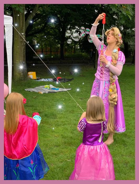 Rapunzel blowing bubbles