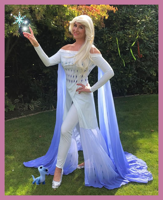 The Snow Queen in white spirit dress